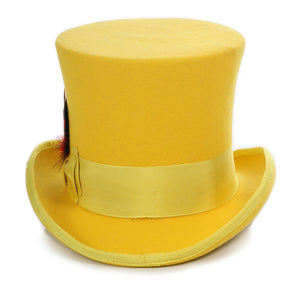 Premium Wool Yellow Victorian Top Hat - Ferrecci USA