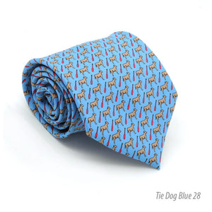 Dog Provence Blue Necktie with Handkerchief Set - Giorgio's Menswear