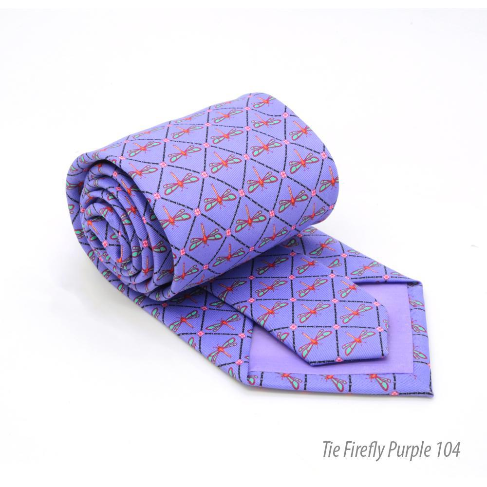Firefly Purple Necktie with Handkerchief Set - Giorgio's Menswear