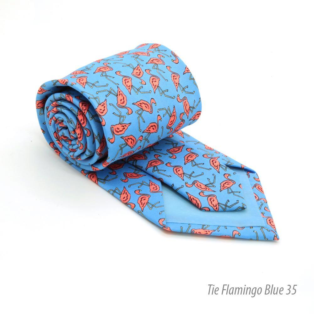 Flamingo Blue Necktie with Handkerchief Set - Giorgio's Menswear