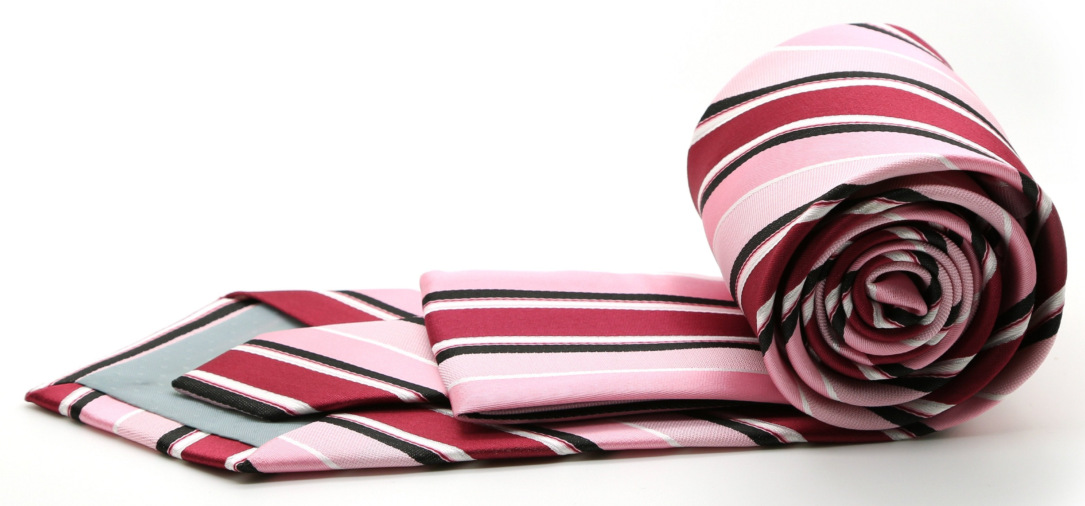 Mens Dads Classic Pink Striped Pattern Business Casual Necktie & Hanky Set U-3 - Giorgio's Menswear