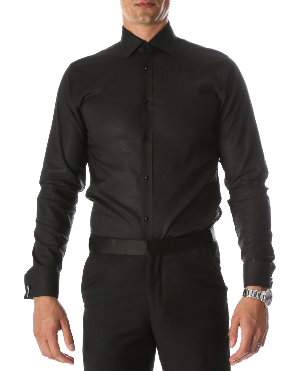 Ferrecci Men's Black Venice Slim Fit Pique Lay Down Collar Shirt - Giorgio's Menswear