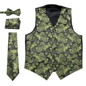 Ferrecci Mens Green/Black Paisley Wedding Prom Grad Choir Band 4pc Vest Set - Giorgio's Menswear