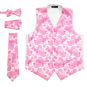 Ferrecci Mens Fuchsia Paisley Wedding Prom Grad Choir Band 4pc Vest Set - Giorgio's Menswear