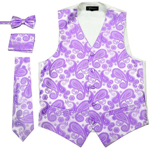 Ferrecci Mens Purple Paisley Wedding Prom Grad Choir Band 4pc Vest Set - Giorgio's Menswear