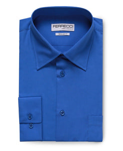 Virgo Royal Blue Regular Fit Dress Shirt - Giorgio's Menswear