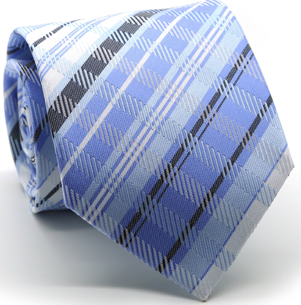 Mens Dads Classic Blue Striped Pattern Business Casual Necktie & Hanky Set VO-10 - Giorgio's Menswear