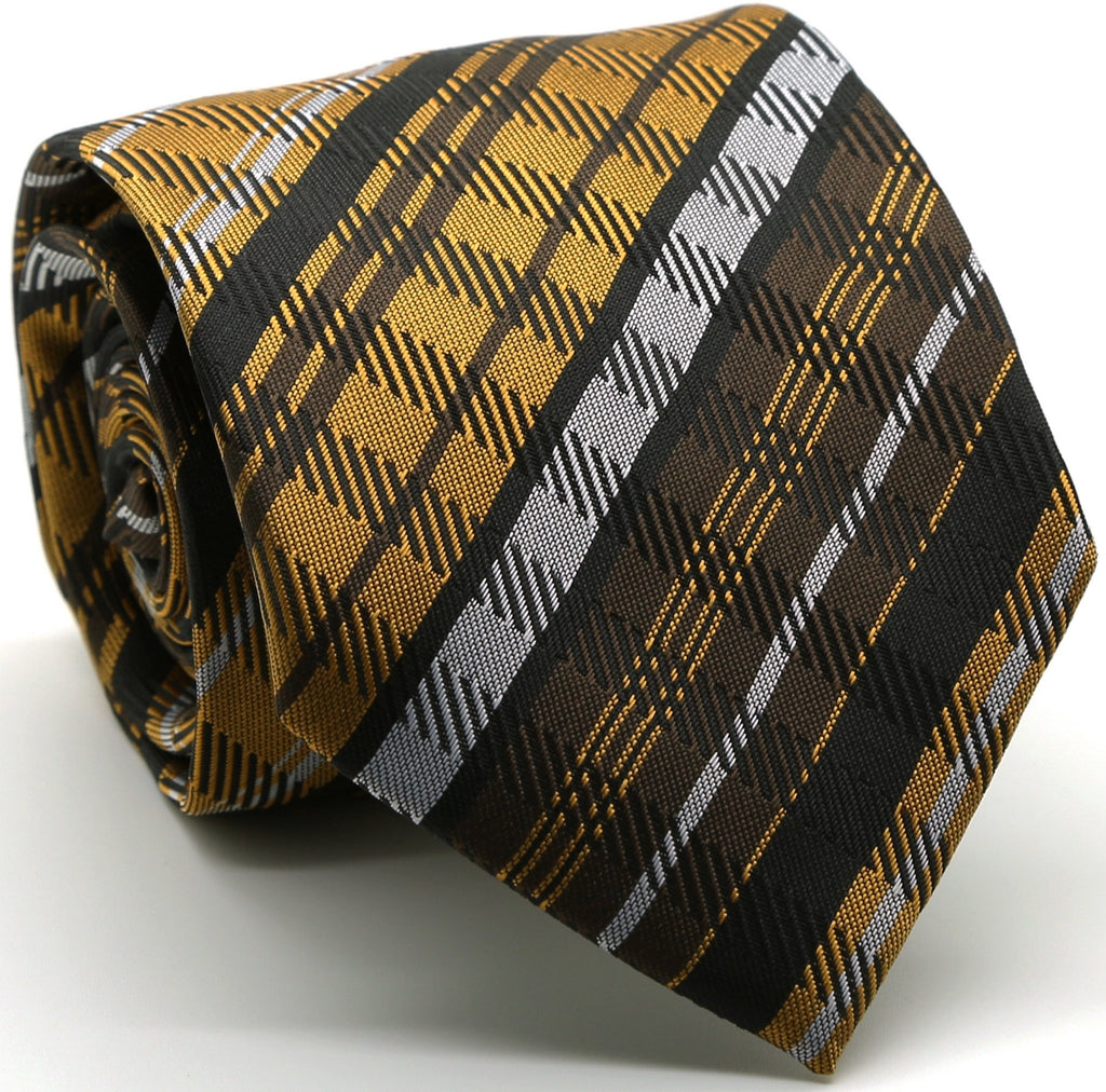 Mens Dads Classic Brown Striped Pattern Business Casual Necktie & Hanky Set VO-11 - Giorgio's Menswear