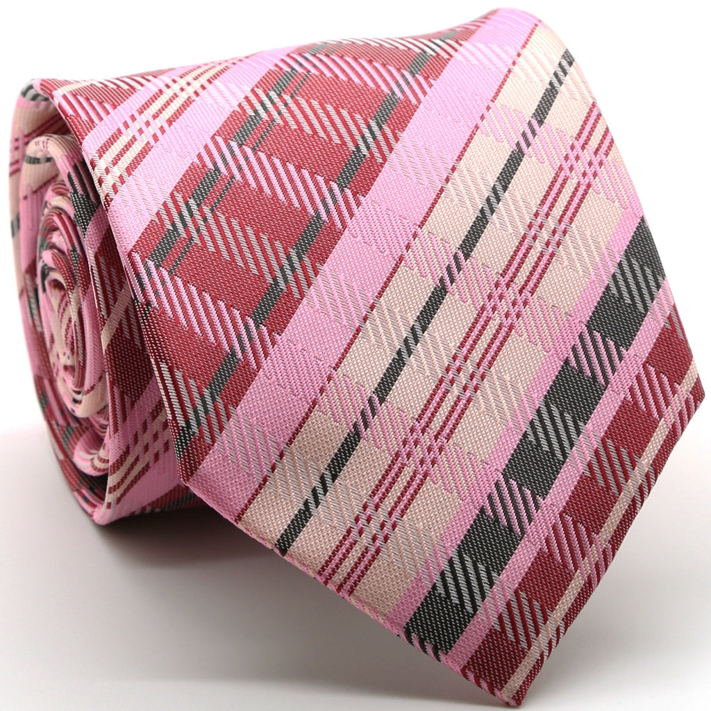 Mens Dads Classic Pink Striped Pattern Business Casual Necktie & Hanky Set VO-6 - Giorgio's Menswear