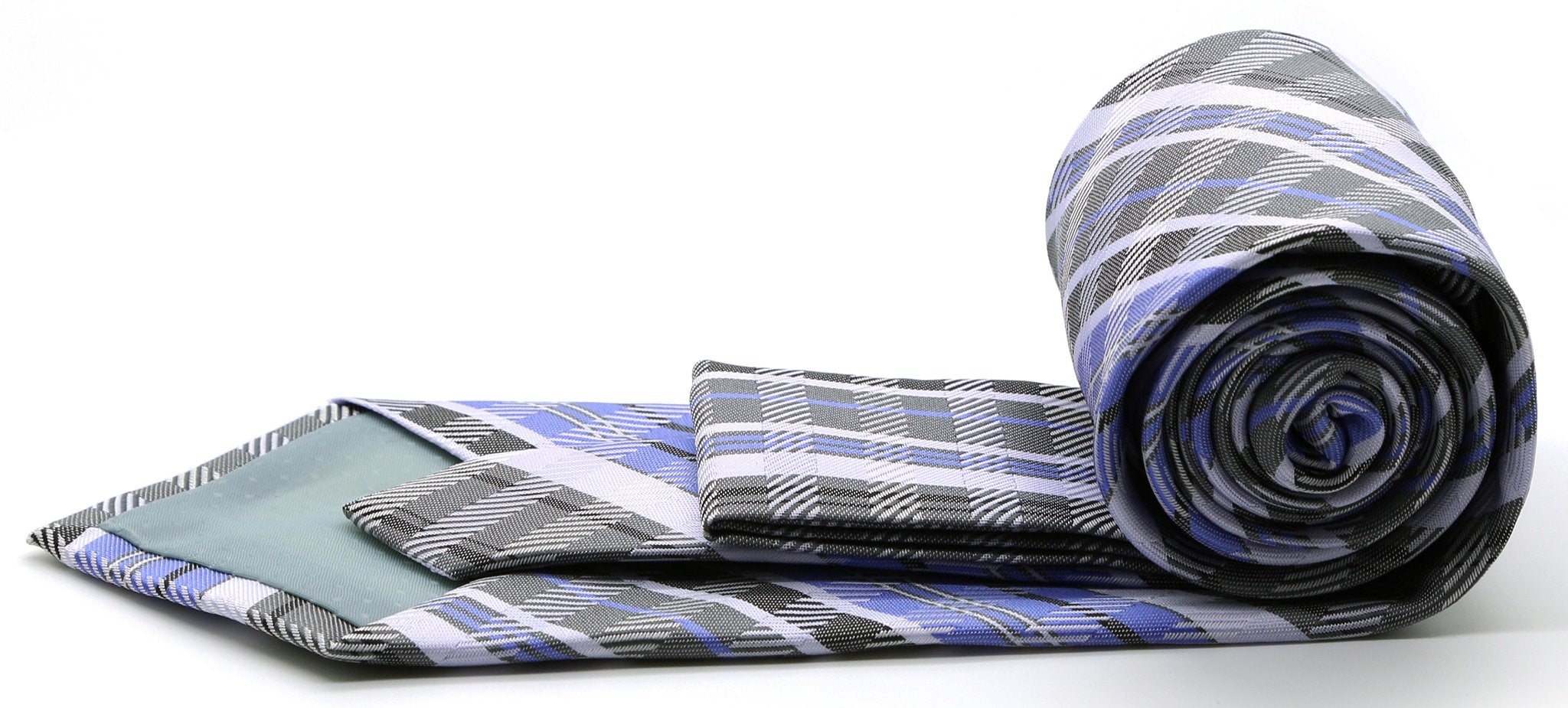Mens Dads Classic Grey/Purple Striped Pattern Business Casual Necktie & Hanky Set VO-7 - Giorgio's Menswear
