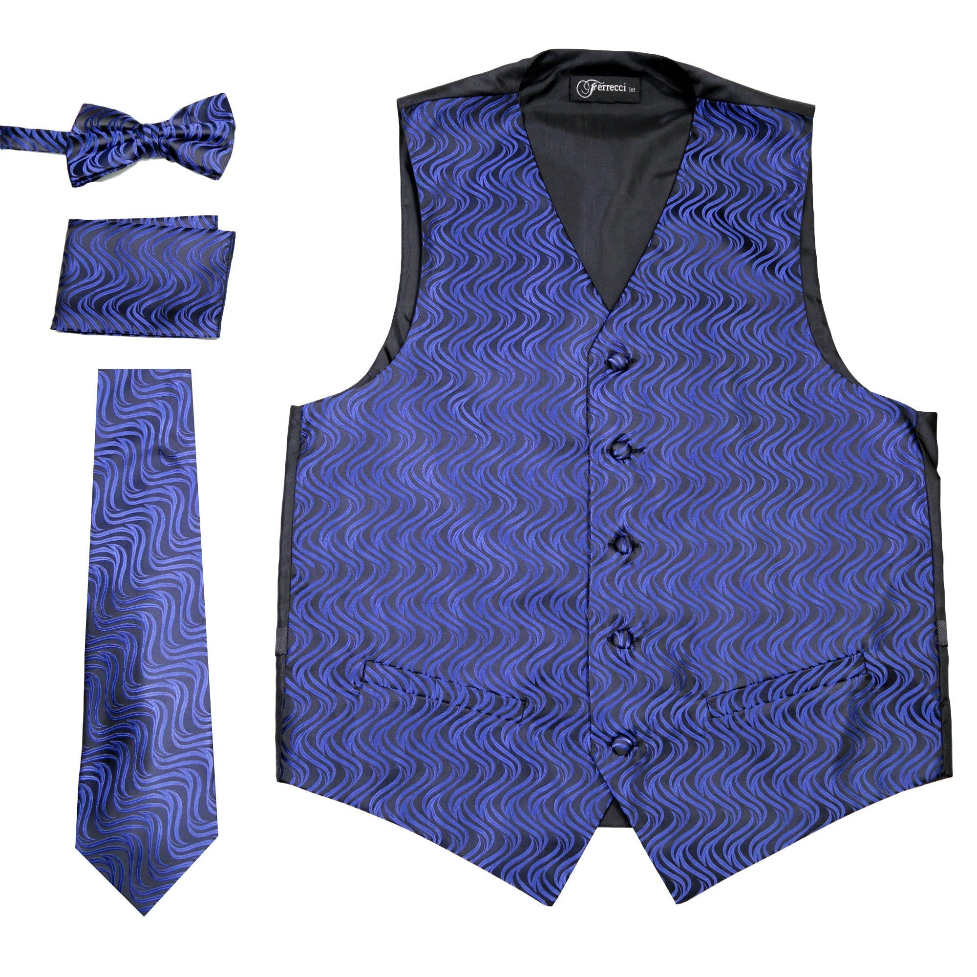 Ferrecci Mens PV150 - Black/Blue Vest Set - Giorgio's Menswear