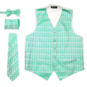 Ferrecci Mens PV150 - Green/White Vest Set - Giorgio's Menswear