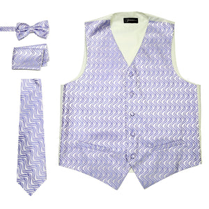 Ferrecci Mens PV150 - Purple/Cream Vest Set - Giorgio's Menswear