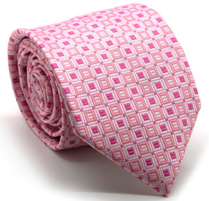 Mens Dads Classic Pink Geometric Pattern Business Casual Necktie & Hanky Set Y-5 - Giorgio's Menswear