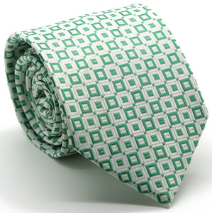 Mens Dads Classic Green Geometric Pattern Business Casual Necktie & Hanky Set Y-6 - Giorgio's Menswear