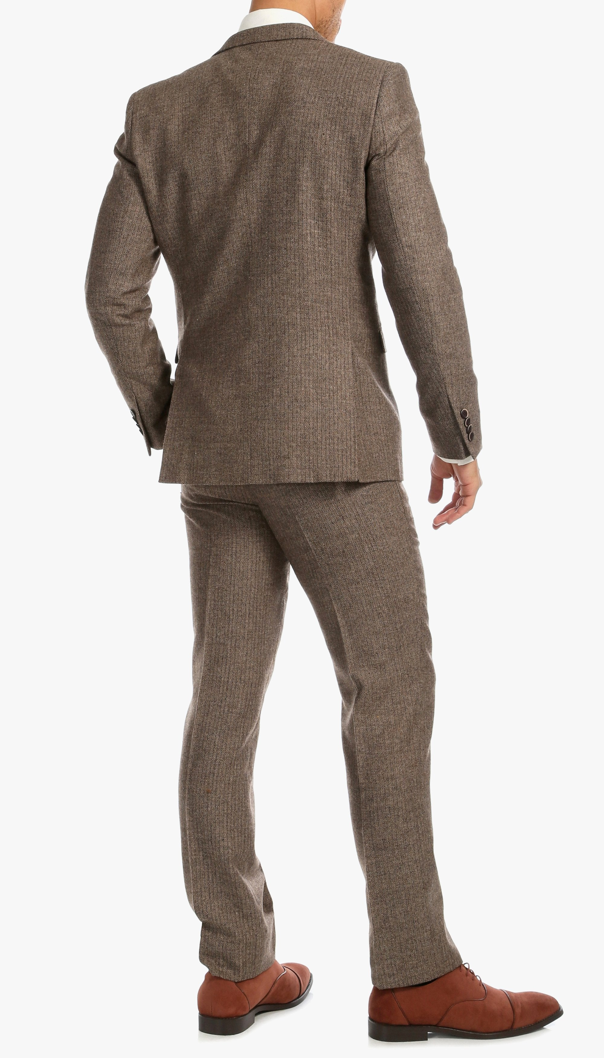 Brown Herringbone Notch Lapel Three Pcs Two Botton Slim Fit Suit. - Giorgio's Menswear