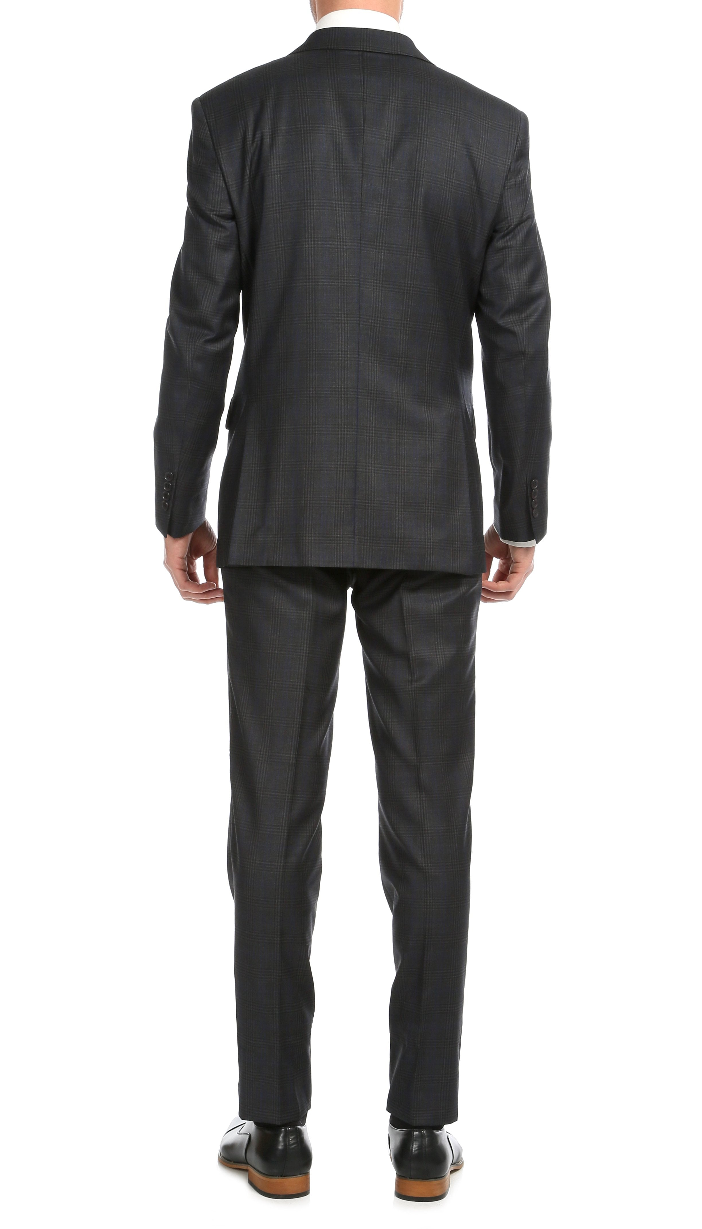 Yves Grey Plaid Check Men's Premium 2pc Premium Wool Slim Fit Suit - Ferrecci USA