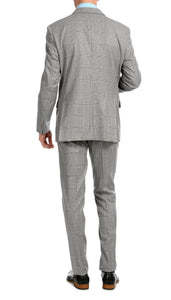 Yves Light Grey Plaid Check Men's Premium 2pc Premium Wool Slim Fit Suit - Giorgio's Menswear