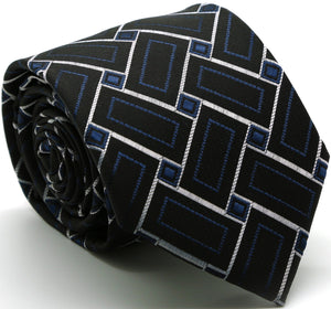 Mens Dads Classic Navy Geometric Pattern Business Casual Necktie & Hanky Set Z-11 - Giorgio's Menswear