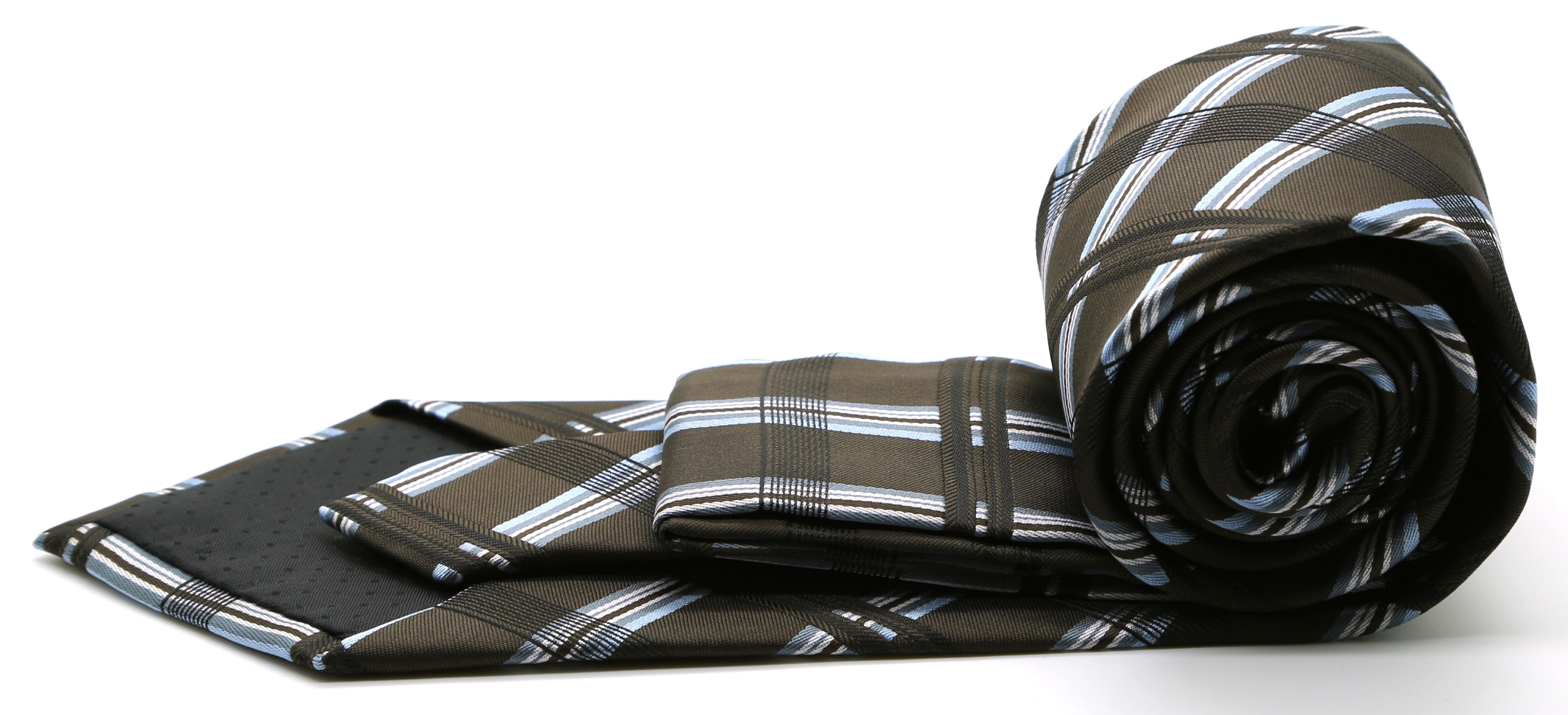 Mens Dads Classic Brown Stripe Pattern Business Casual Necktie & Hanky Set Z-2 - Giorgio's Menswear