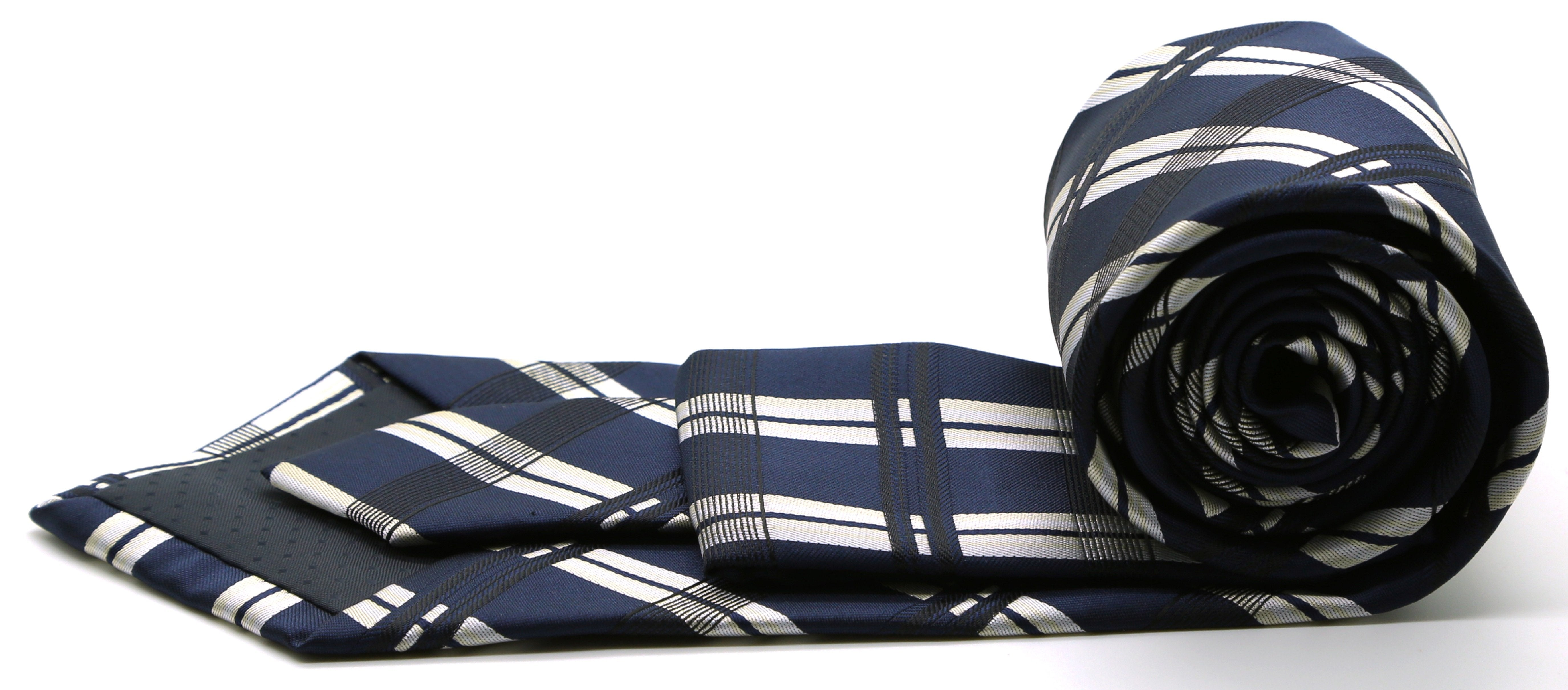 Mens Dads Classic Navy Stripe Pattern Business Casual Necktie & Hanky Set Z-3 - Giorgio's Menswear