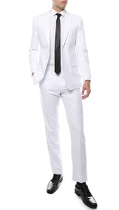 Mens ZNL22S 2pc 2 Button Slim Fit White Zonettie Suit - Giorgio's Menswear