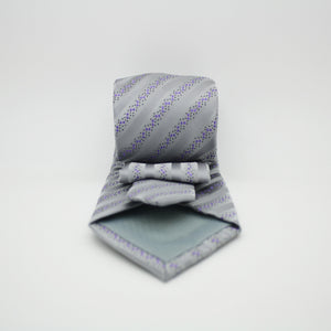Mens Dads Classic Grey Striped Pattern Business Casual Necktie & Hanky Set ZO-12 - Giorgio's Menswear