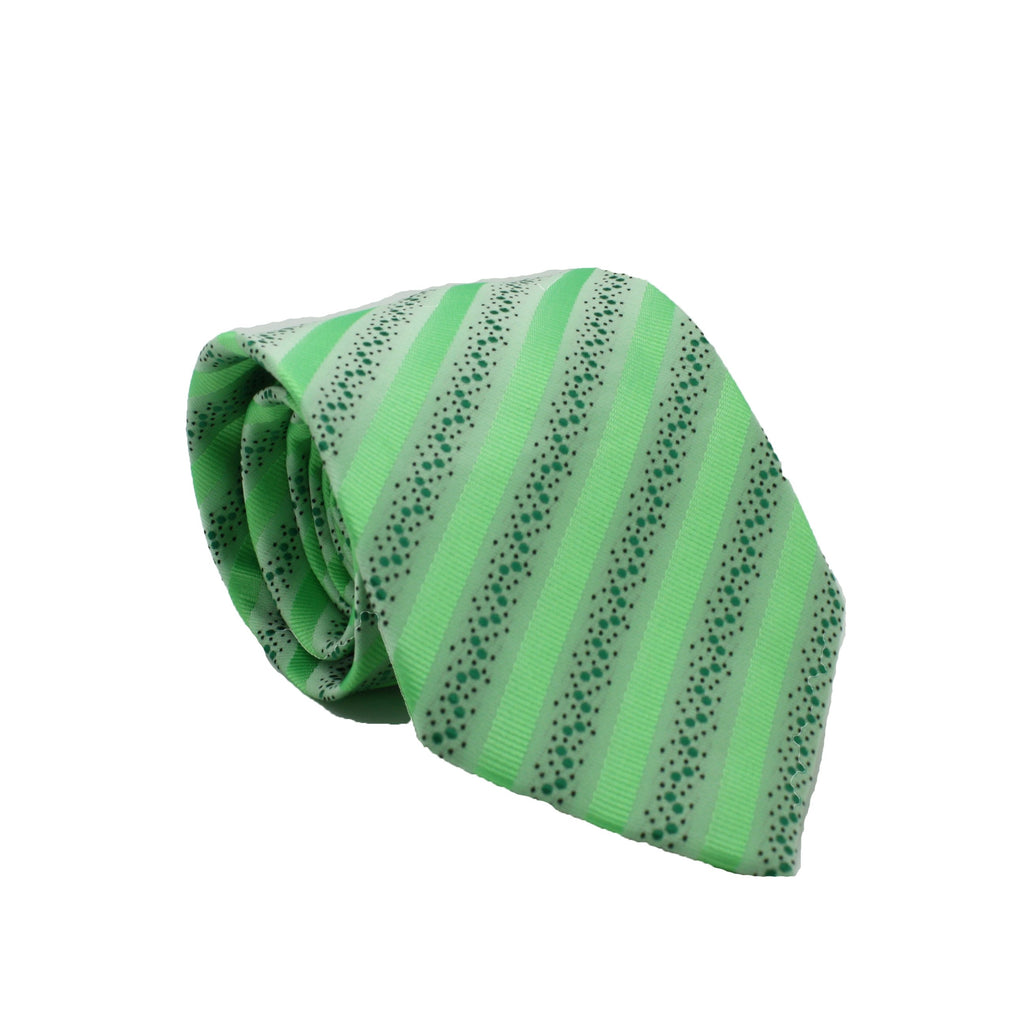 Mens Dads Classic Green Striped Pattern Business Casual Necktie & Hanky Set ZO-2 - Giorgio's Menswear