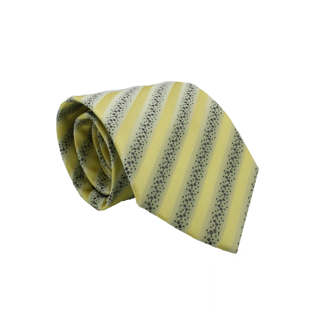 Mens Dads Classic Yellow Striped Pattern Business Casual Necktie & Hanky Set ZO-5 - Giorgio's Menswear