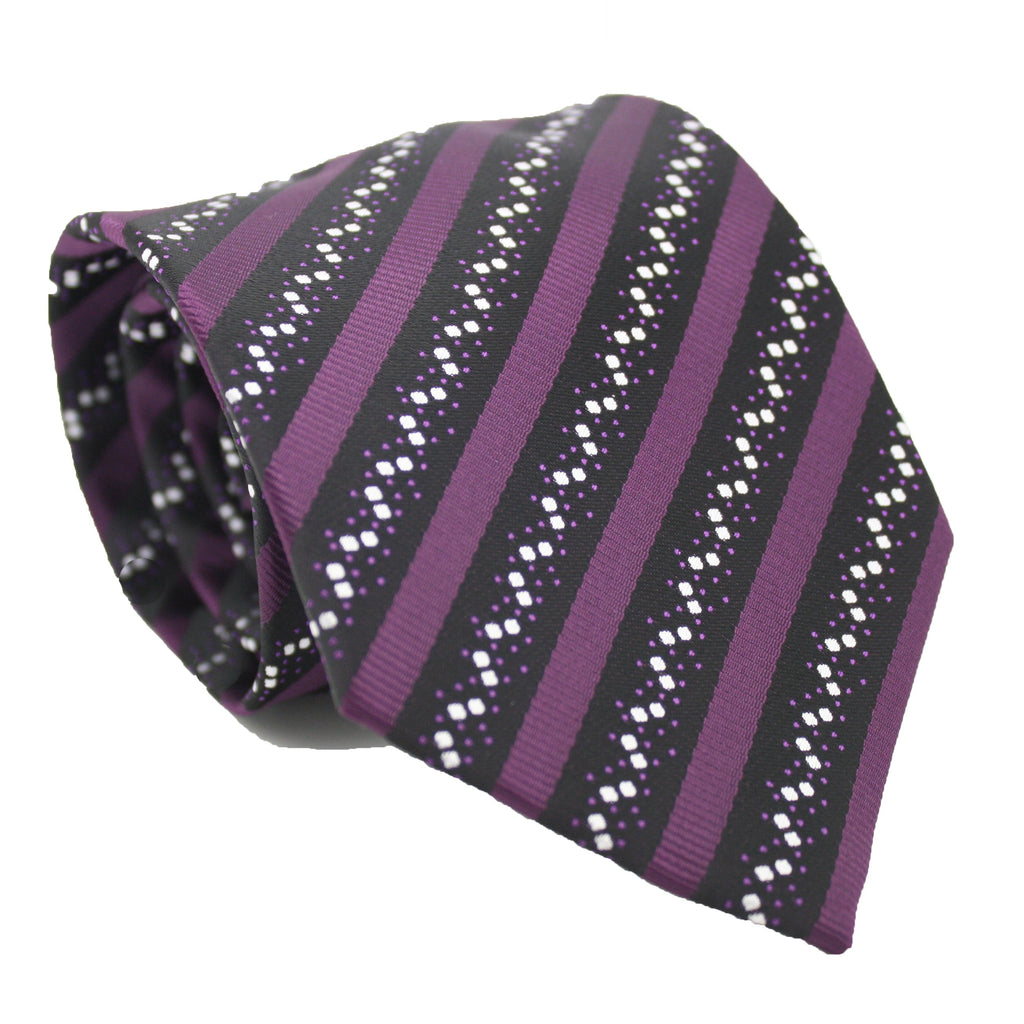 Mens Dads Classic Purple Striped Pattern Business Casual Necktie & Hanky Set ZO-7 - Giorgio's Menswear