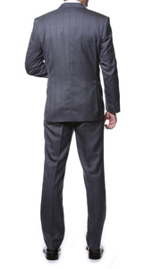 Zillo Grey Blue 3pc Vested Slim Fit Plaid Suit - Giorgio's Menswear