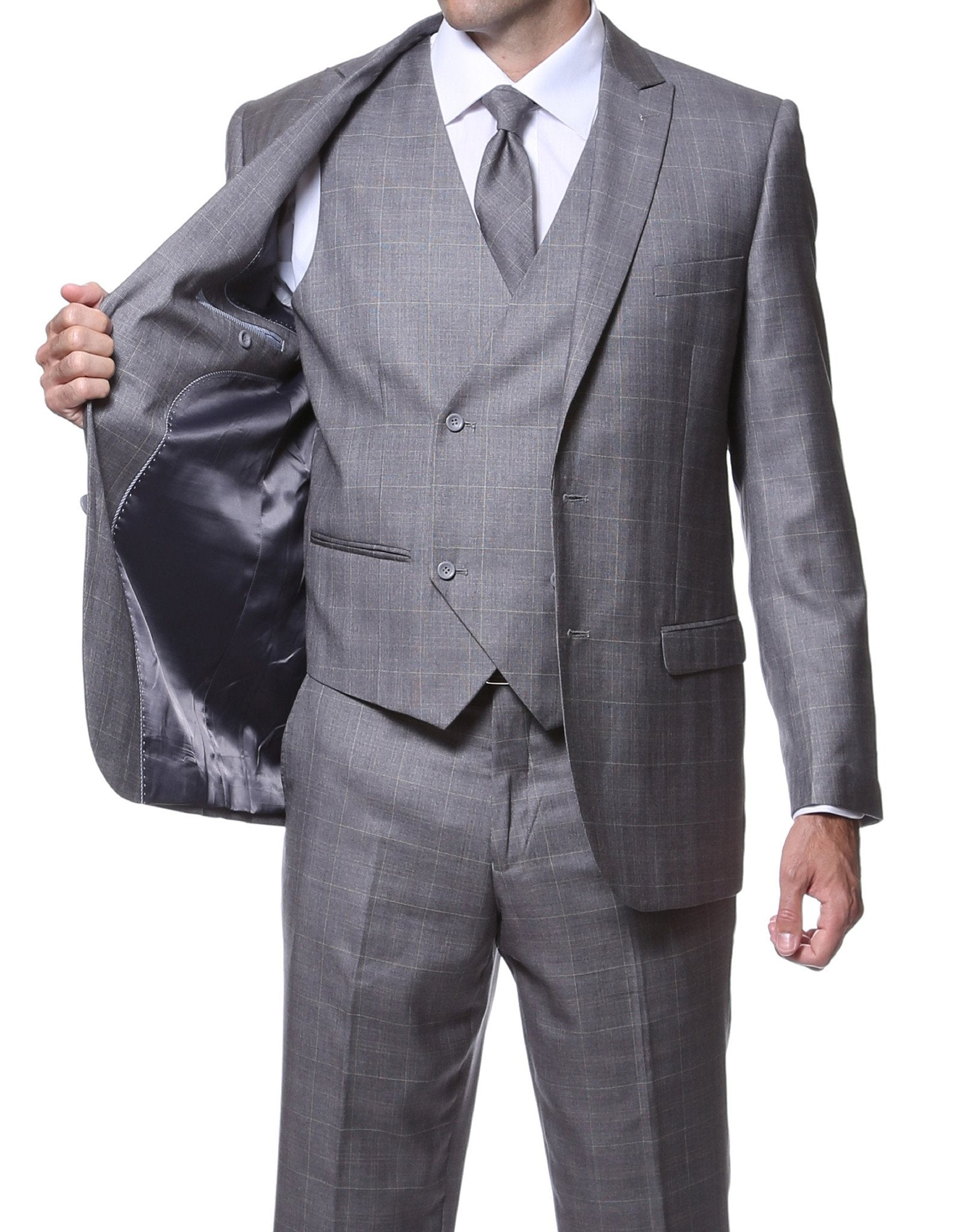 Zillo Grey 3pc Vested Slim Fit Plaid Suit - Giorgio's Menswear