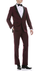 Ferrecci Men's Reno Burgundy Slim Fit Shawl Lapel 2 Piece Tuxedo Suit Set - Giorgio's Menswear