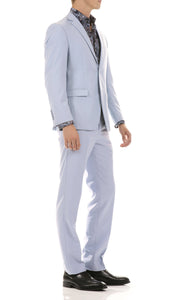 Oslo Sky Blue Slim Fit Notch Lapel 2 Piece Suit - Ferrecci USA