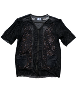 Load image into Gallery viewer, MESH FLORAL V NECK BUTTON UP