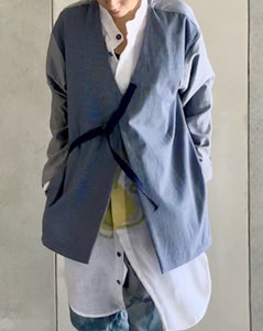JACKET WITH LAPEL STRAP AND POCKETS
