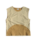 Load image into Gallery viewer, SLEEVELESS TAN X CHECK HALF MOON TOP
