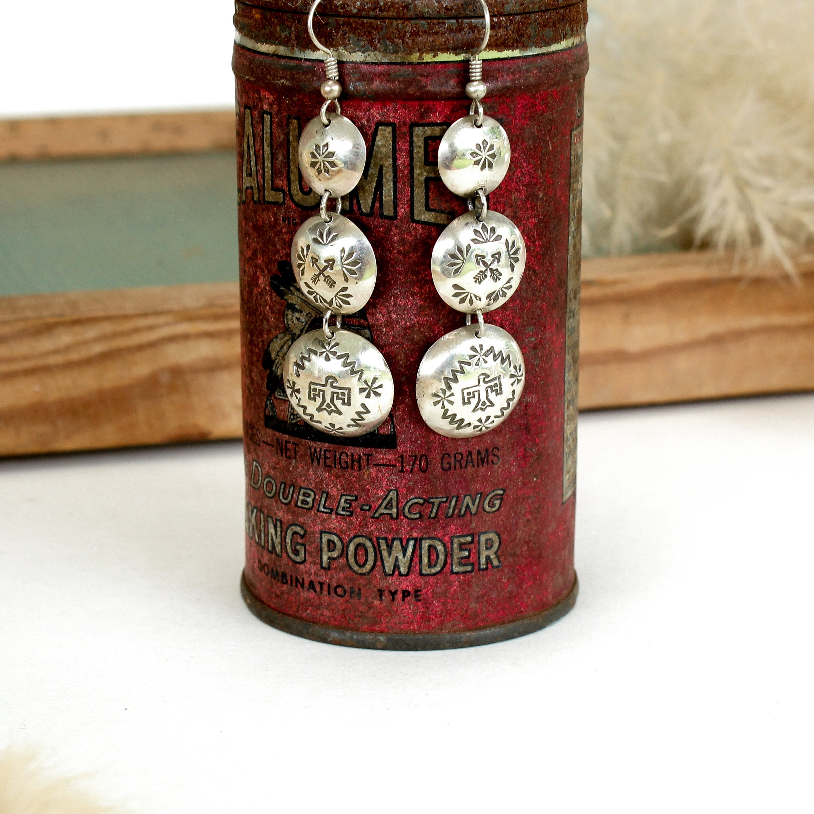 Stamped Raindrop Earrings