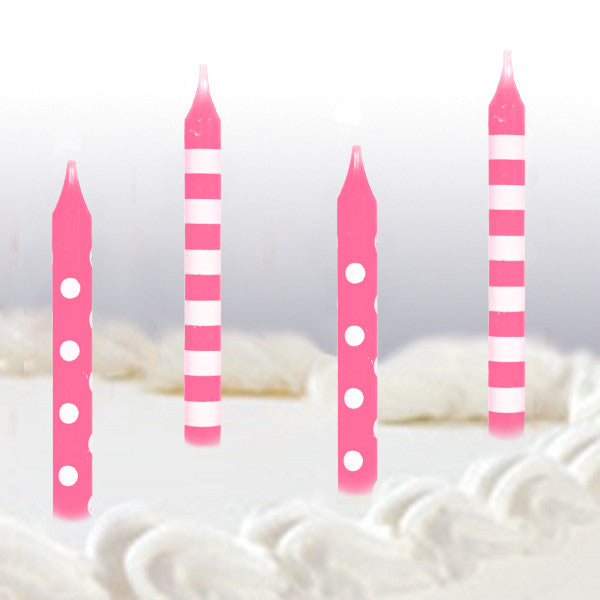 Pink Dots And Stripes Birthday Cake Candles