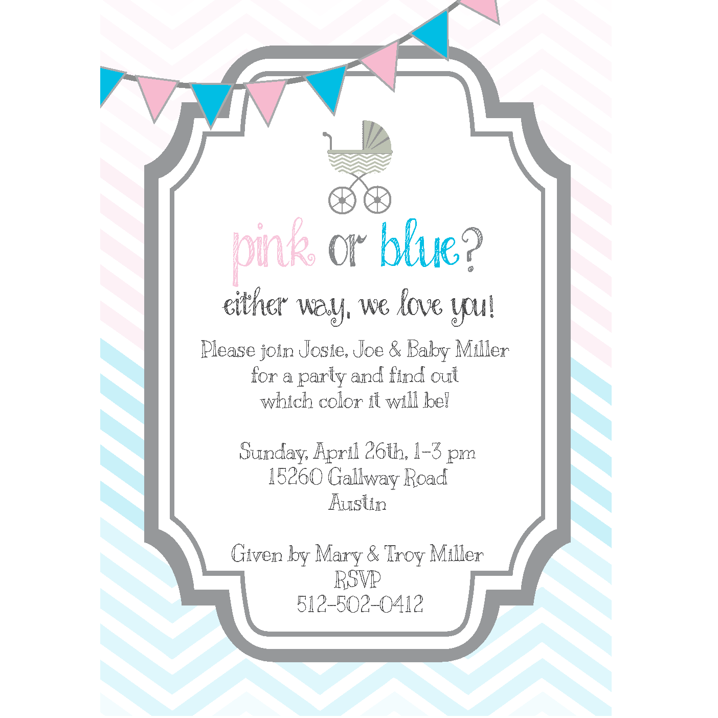 Pink or Blue Gender Reveal Party Invitations