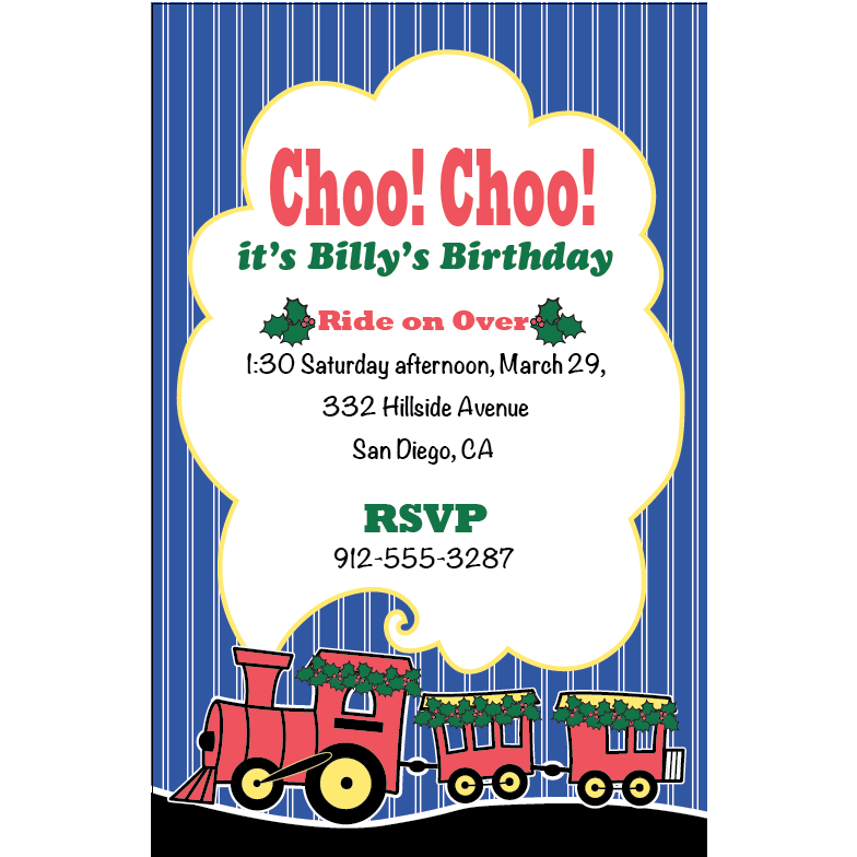 Christmas Train Birthday Party Invitations