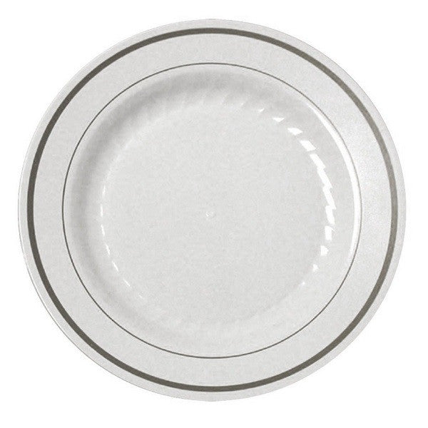 12 White China-like Disposable Dinner/Lunch Plates - Silver Trim  sc 1 st  Piece of Cake Parties & White Disposable Dinner/Lunch Plates with Silver Trim