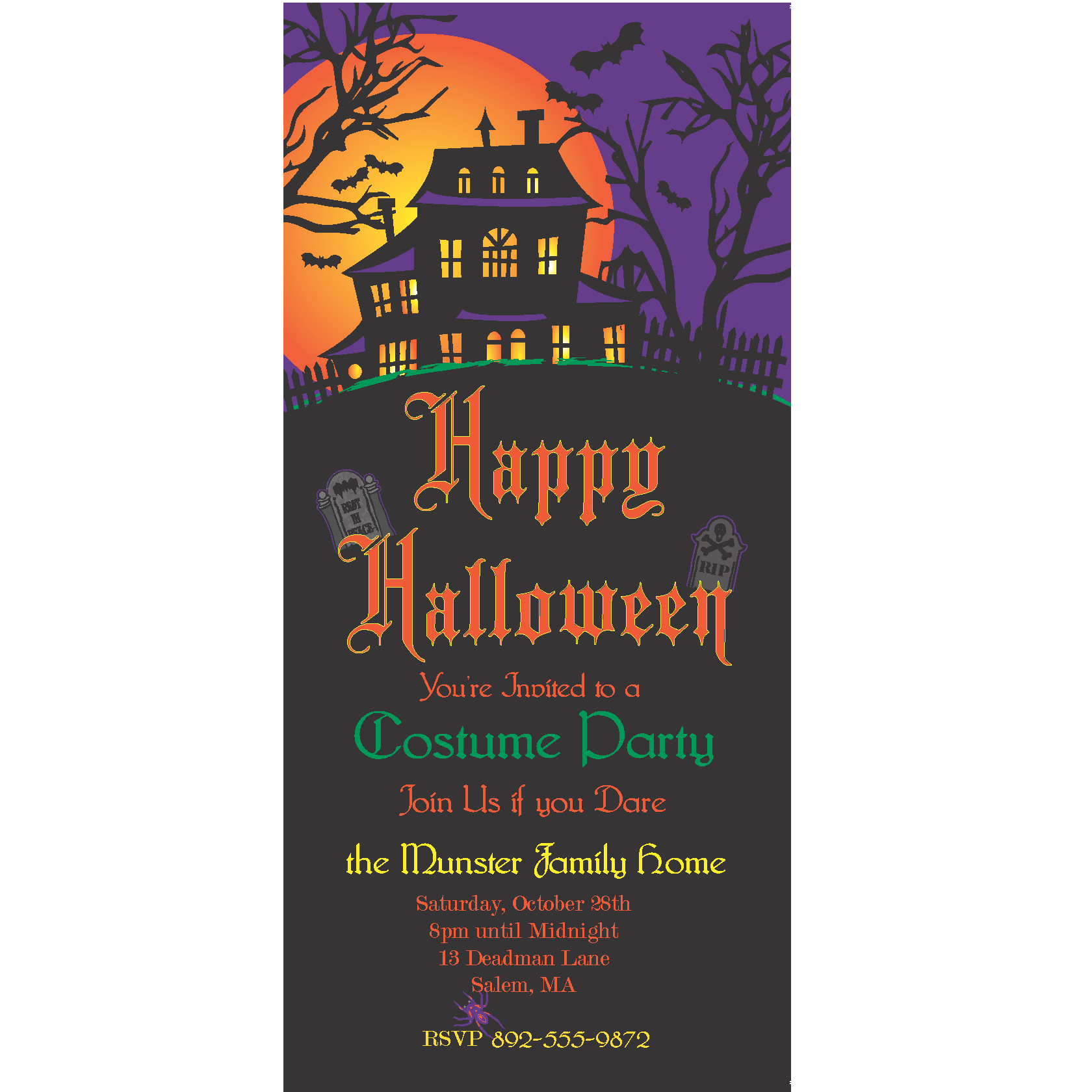 Haunted House Halloween, Bday, or Anniversary Party Invites