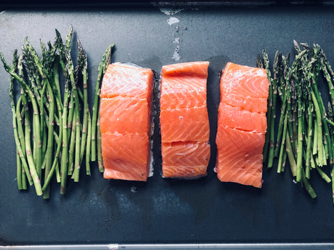 Asparagus and Salmon Sheet Pan Dinner, Gluten Free, Meal under 30 Minutes