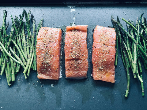 Asparagus and Salmon with Olive Oil, Rosemary Garlic and Lemon Pepper Seasonings