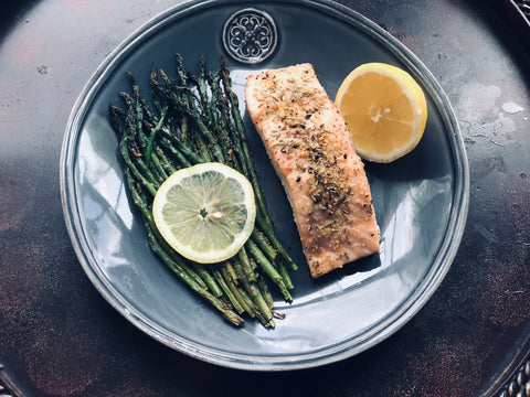 Gluten Free, One Sheet Pan, Rosemary Garlic Salmon and Lemon Pepper Asparagus Meal Under 30