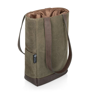 Olive Canvas and Leather Insulated Wine Bottle Bag holds two bottles of wine