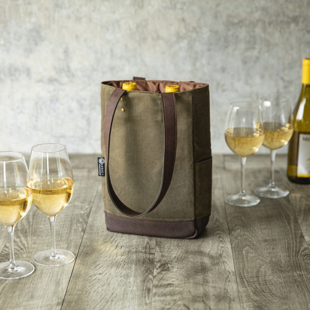 Olive Canvas and Leather Insulated Wine Bottle Bag holding two bottles