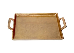 Large Antique Brass Tray with Handles