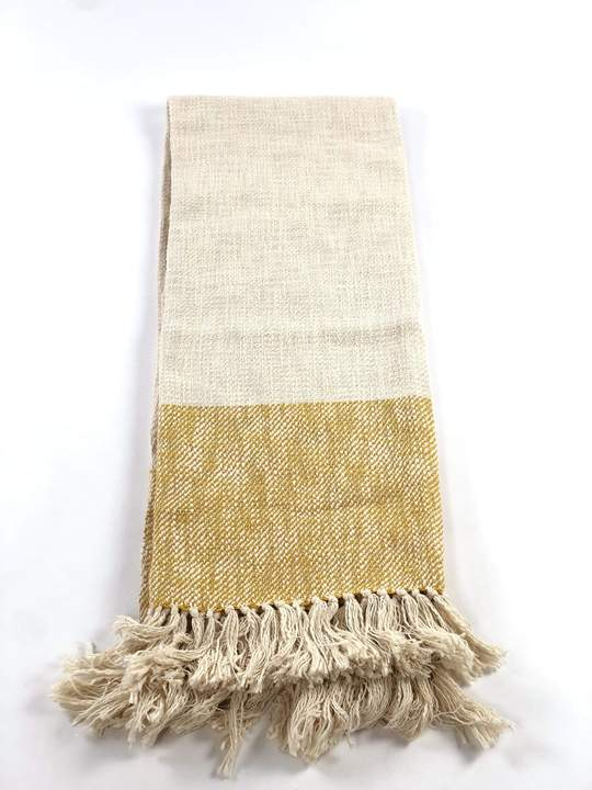 Hem Cream + Mustard Handwoven Throw Blanket
